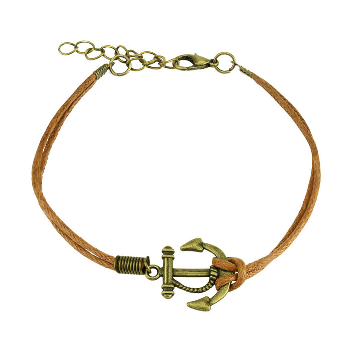 Anchor Leatherette Bracelet with Clasp