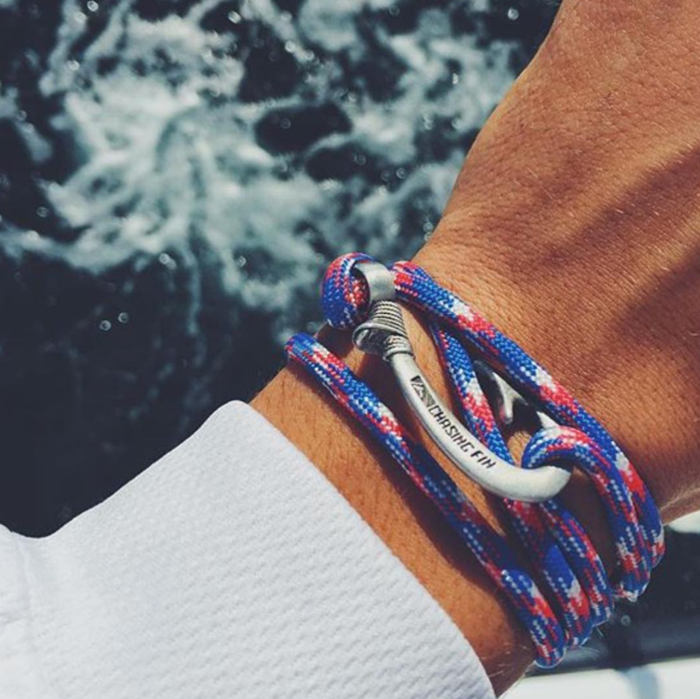 Blue Camo Fish Hook Bracelet