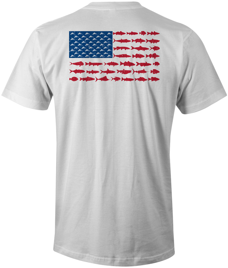 Distressed american fish flag t shirt white fish hook for American apparel t shirt design