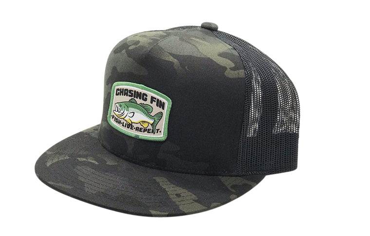 Bass Catcher Black Camo Trucker Cap