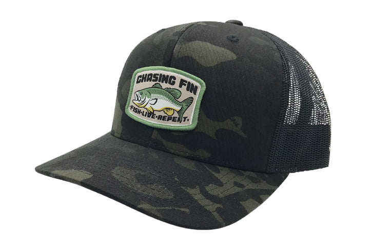 Bass Catcher Black Camo Trucker Cap (Curved Bill)