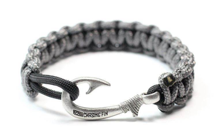 New Slim Cobra Braid Fish Hook Bracelet (Charcoal & Black)