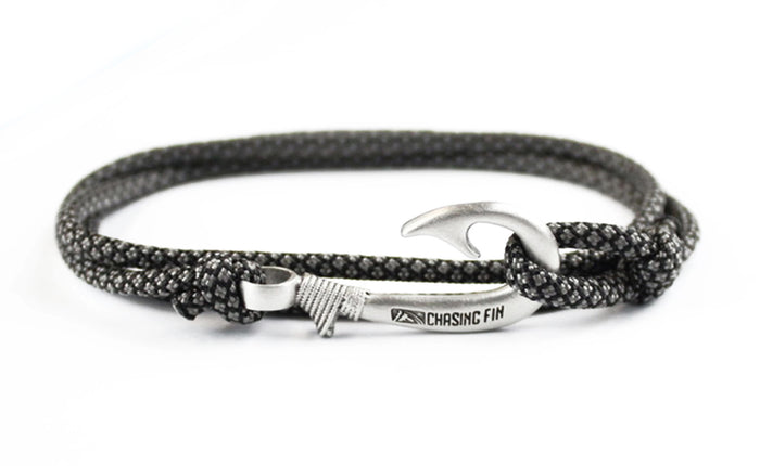 Charcoal Gray Diamonds Fish Hook Bracelet