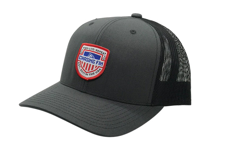 Red, White & Blue Flag Shield Trucker Cap