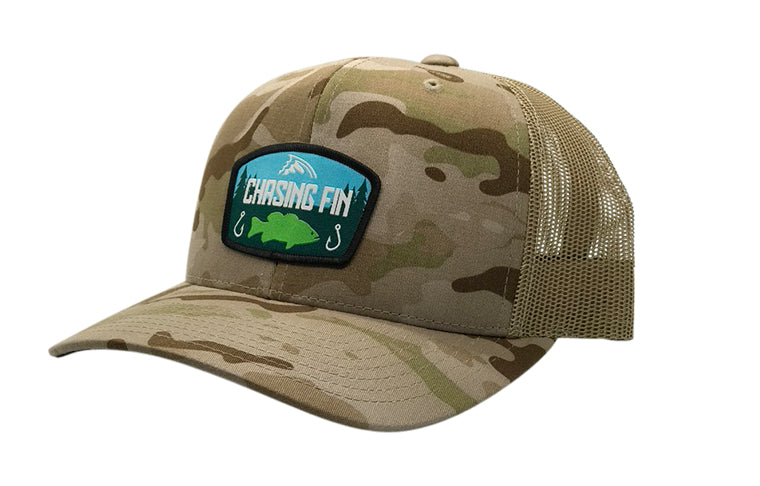 Last Cast Bass Desert Camo Curved Trucker Cap