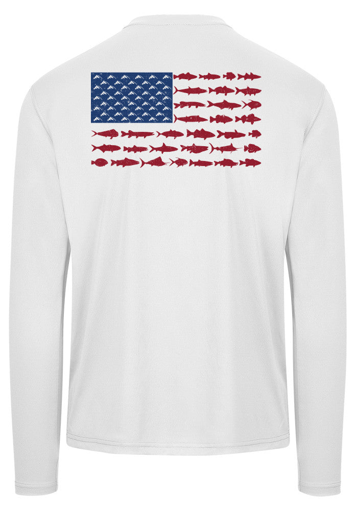 American fish flag performance shirt white fish hook for American flag fish