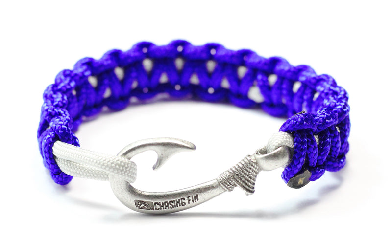 New Slim Cobra Braid Fish Hook Bracelet (Midnight Blue & Silver)