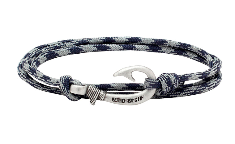 Navy & Gray Fish Hook Bracelet