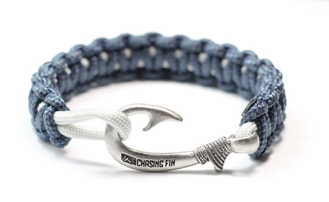 New Slim Cobra Braid Fish Hook Bracelet (Navy & Silver Gray)