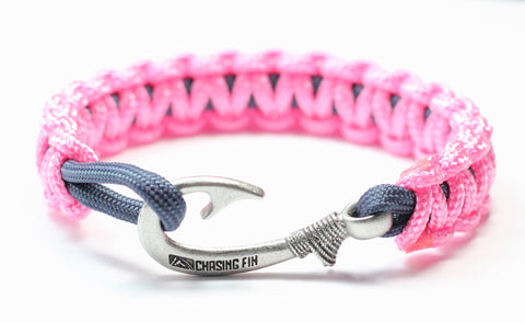 New Slim Cobra Braid Fish Hook Bracelet (Pink & Navy)