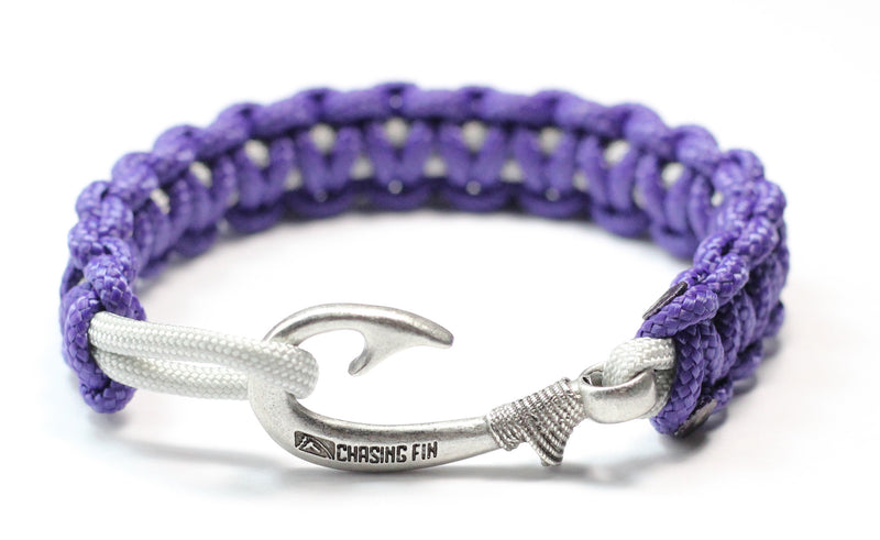 New Slim Cobra Braid Fish Hook Bracelet (Purple & Silver)