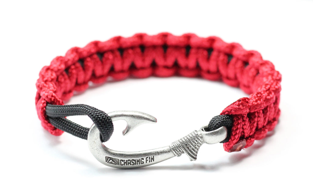 New Slim Cobra Braid Fish Hook Bracelet (Red & Black)