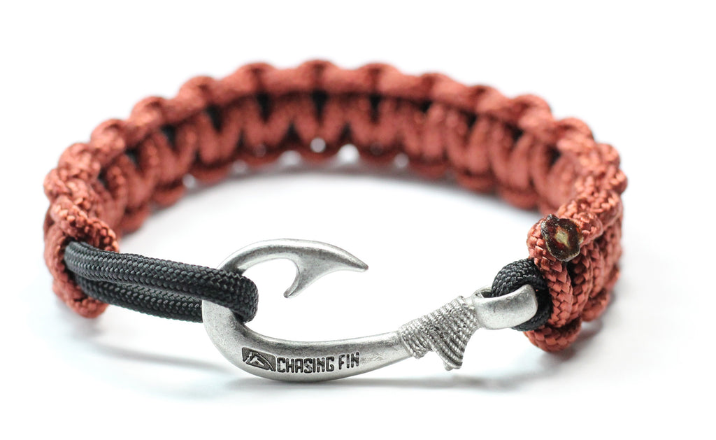 New Slim Cobra Braid Fish Hook Bracelet (Rust & Black)