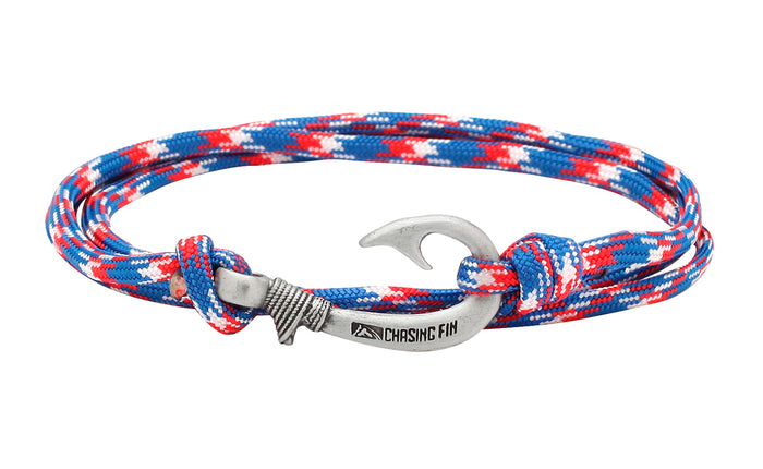 Red, White & Blue Fish Hook Bracelet