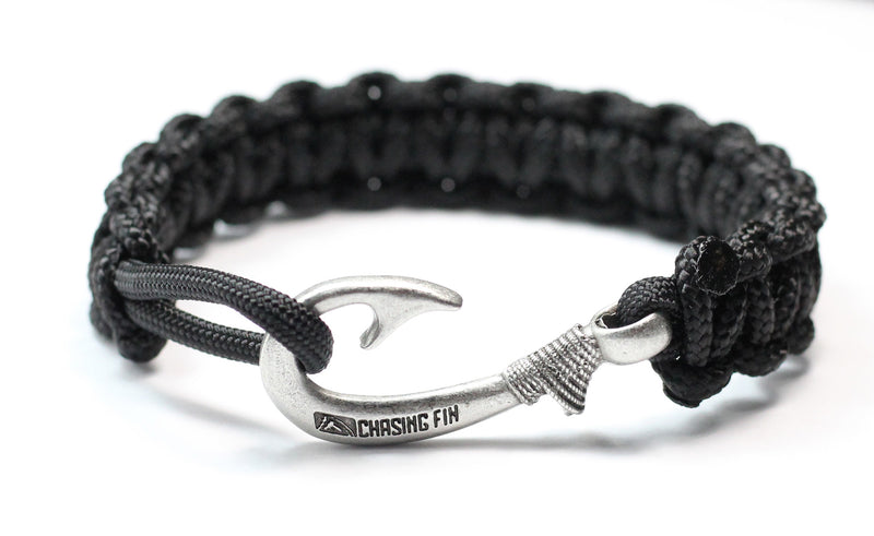 New Slim Cobra Braid Fish Hook Bracelet (Solid Black)