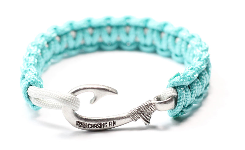 New Slim Cobra Braid Fish Hook Bracelet (Turquoise & Silver)