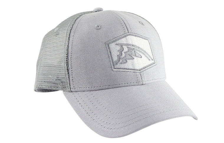 Stone Gray & White Mesh Trucker Hat