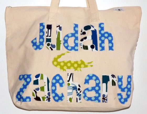 Natural Zip Tote Bag 2 Name