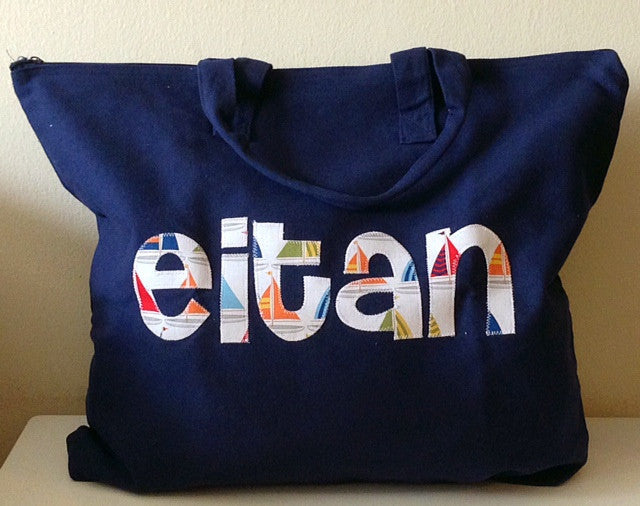 Navy Zip Tote Bag 1 Name