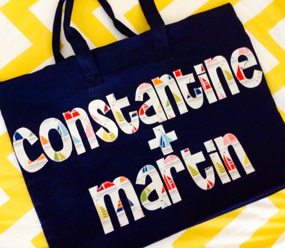 Navy Zip Tote Bag 2 Name