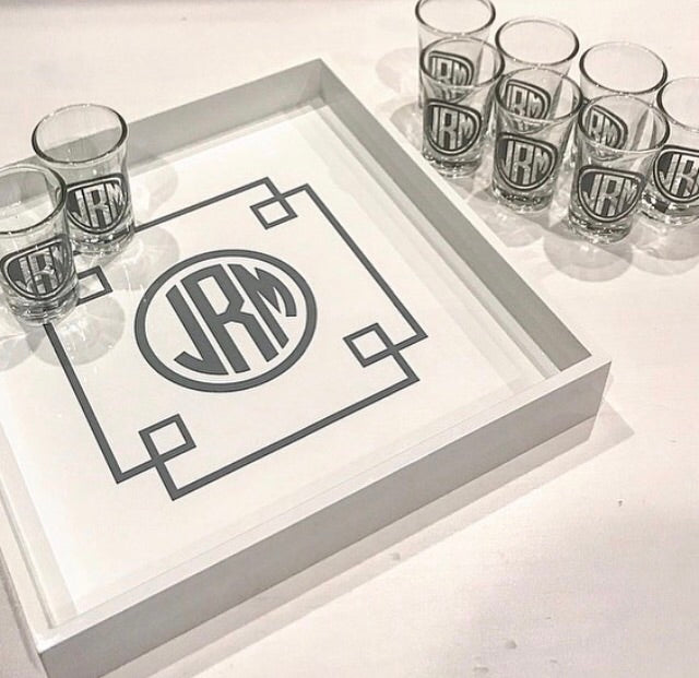 Lacquered Tray and Shot Glass Set