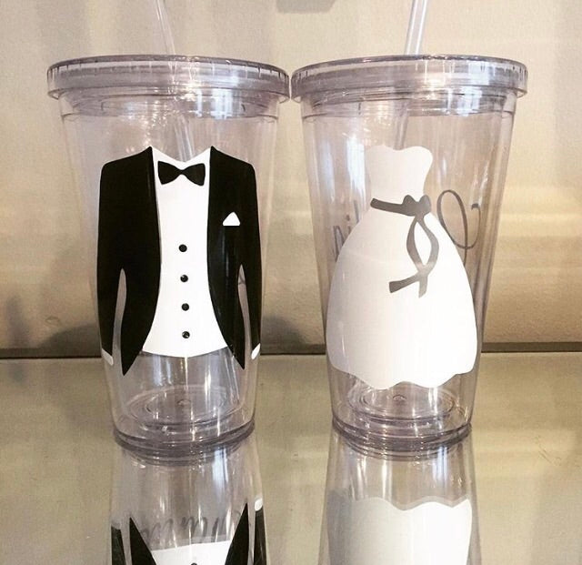 Lucite Mr. and Mrs. Water Tumbler