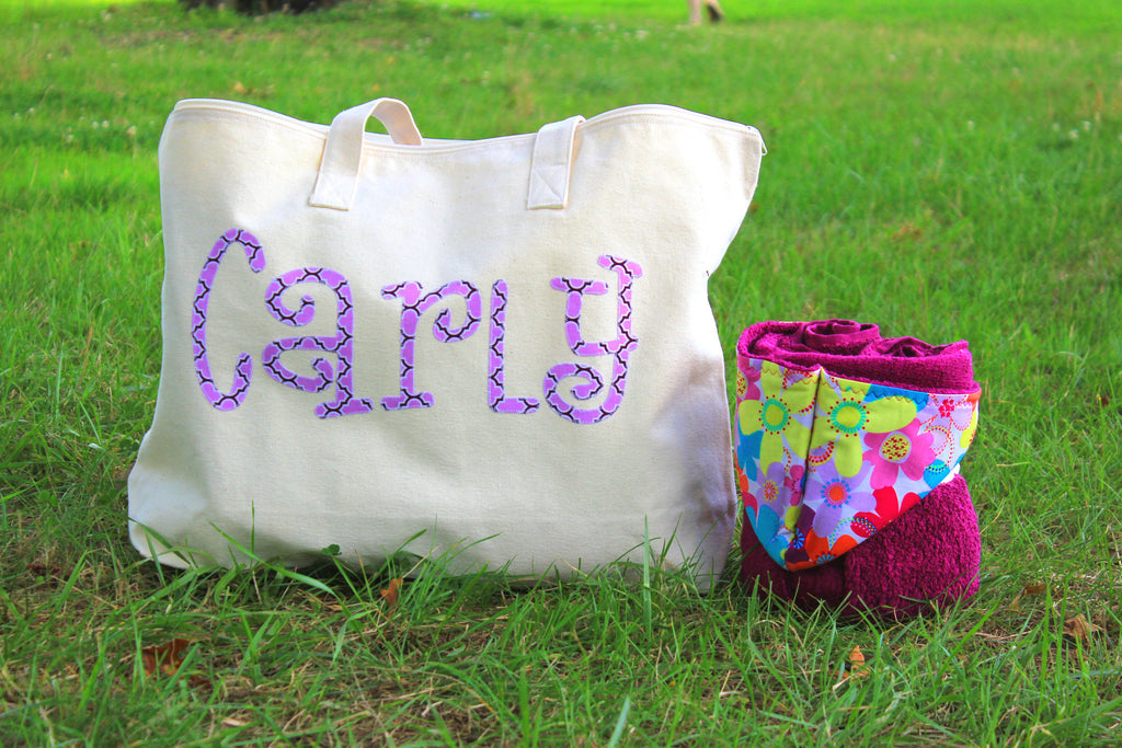 Natural Zip Tote Bag 1 Name