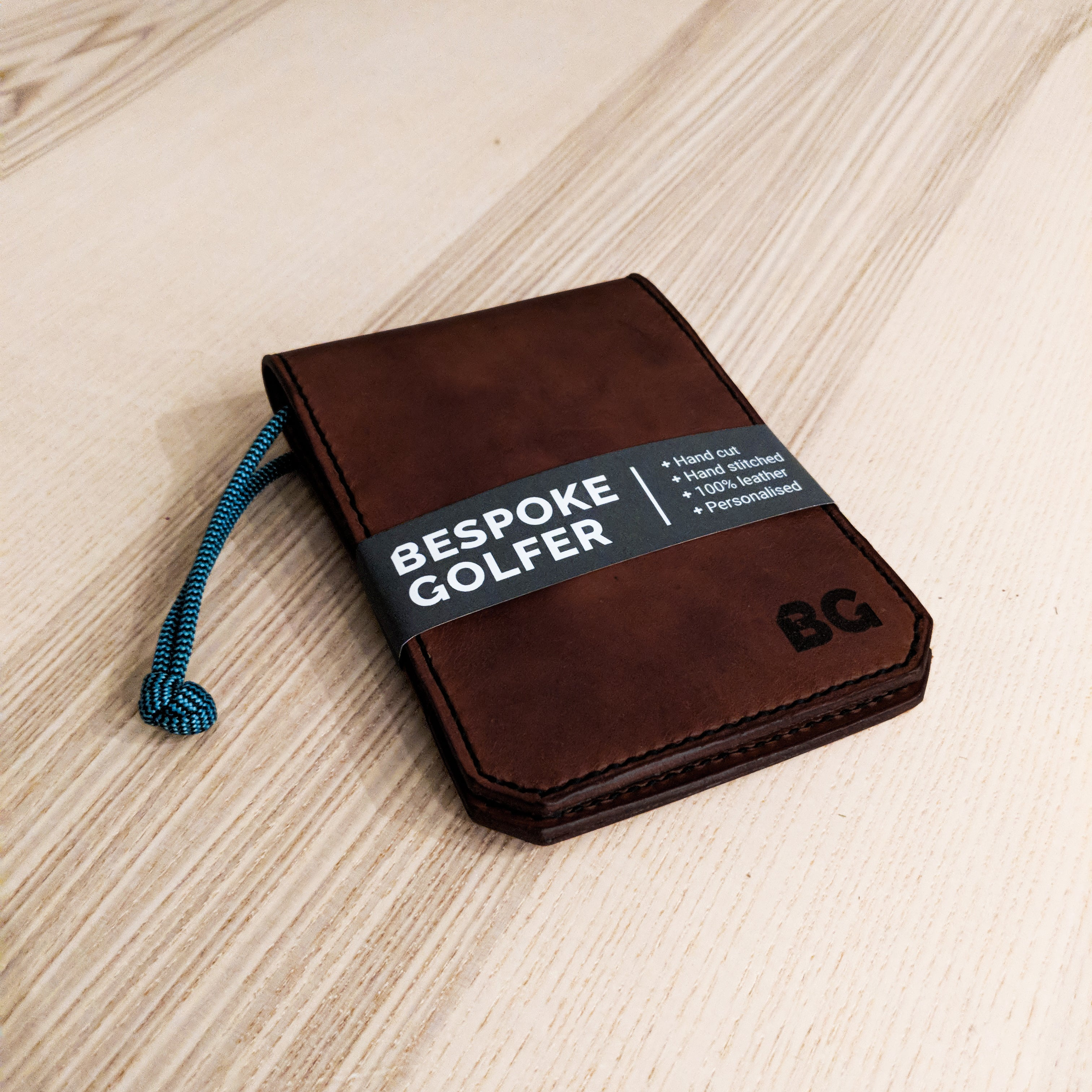 002 Personalised Leather Scorecard Holder // Chocolate with Green & Black zag cord
