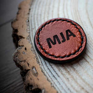 Personalised leather ball marker in tan with initials