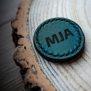 turquoise golf ball marker with engraved initials