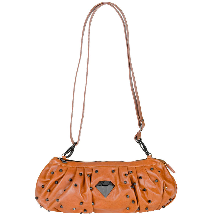 Queen & Cult Mini-Bag mit Nieten in Cognac
