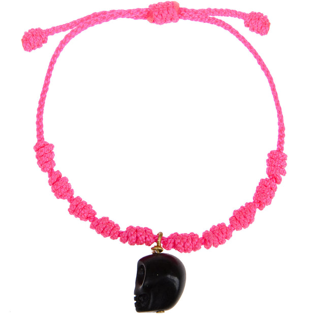 Mono and Me Armband Totenkopf in Neonpink