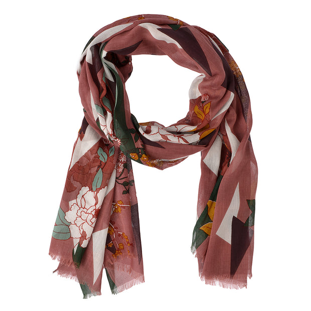 Marc O'Polo Schal Floral in Bordeaux