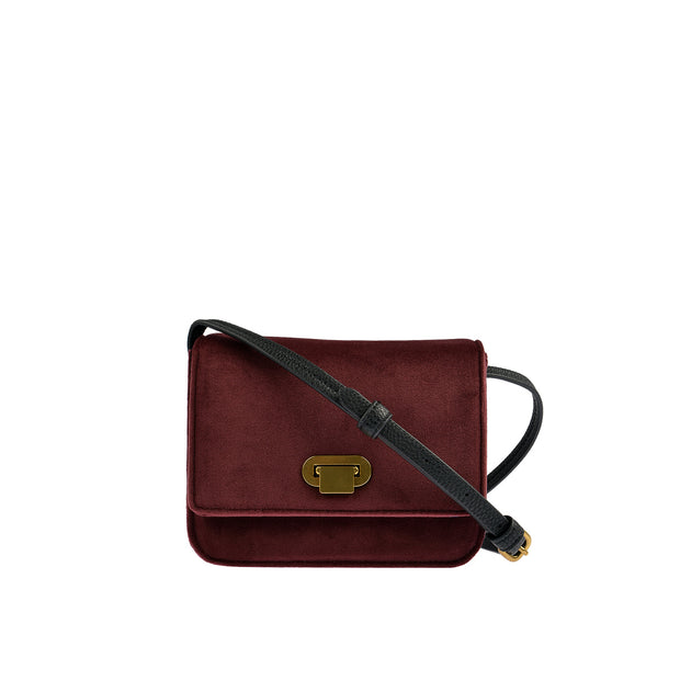 Marc O'Polo Crossbody Bag Samt in Bordeaux 1