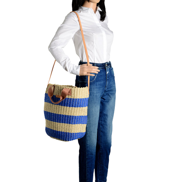 Marc O'Polo Bast Shopper in Natur/Blau 5