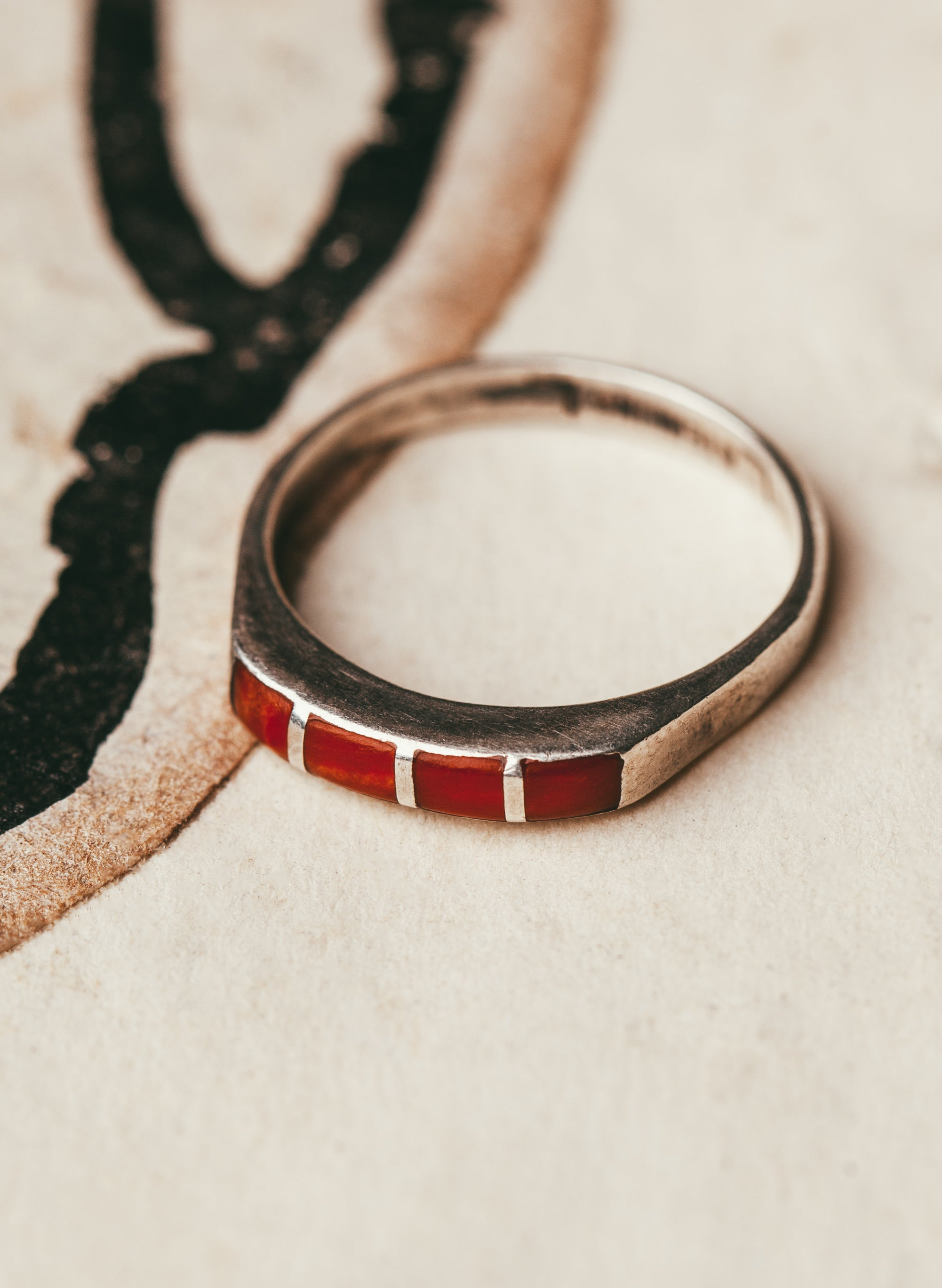 "imogene + willie - vintage ""tonalea"" coral ring"