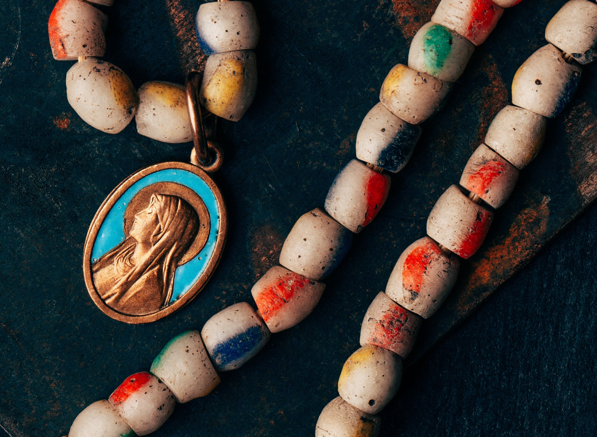 "imogene + willie - vintage beaded ""mother mary"" necklace"