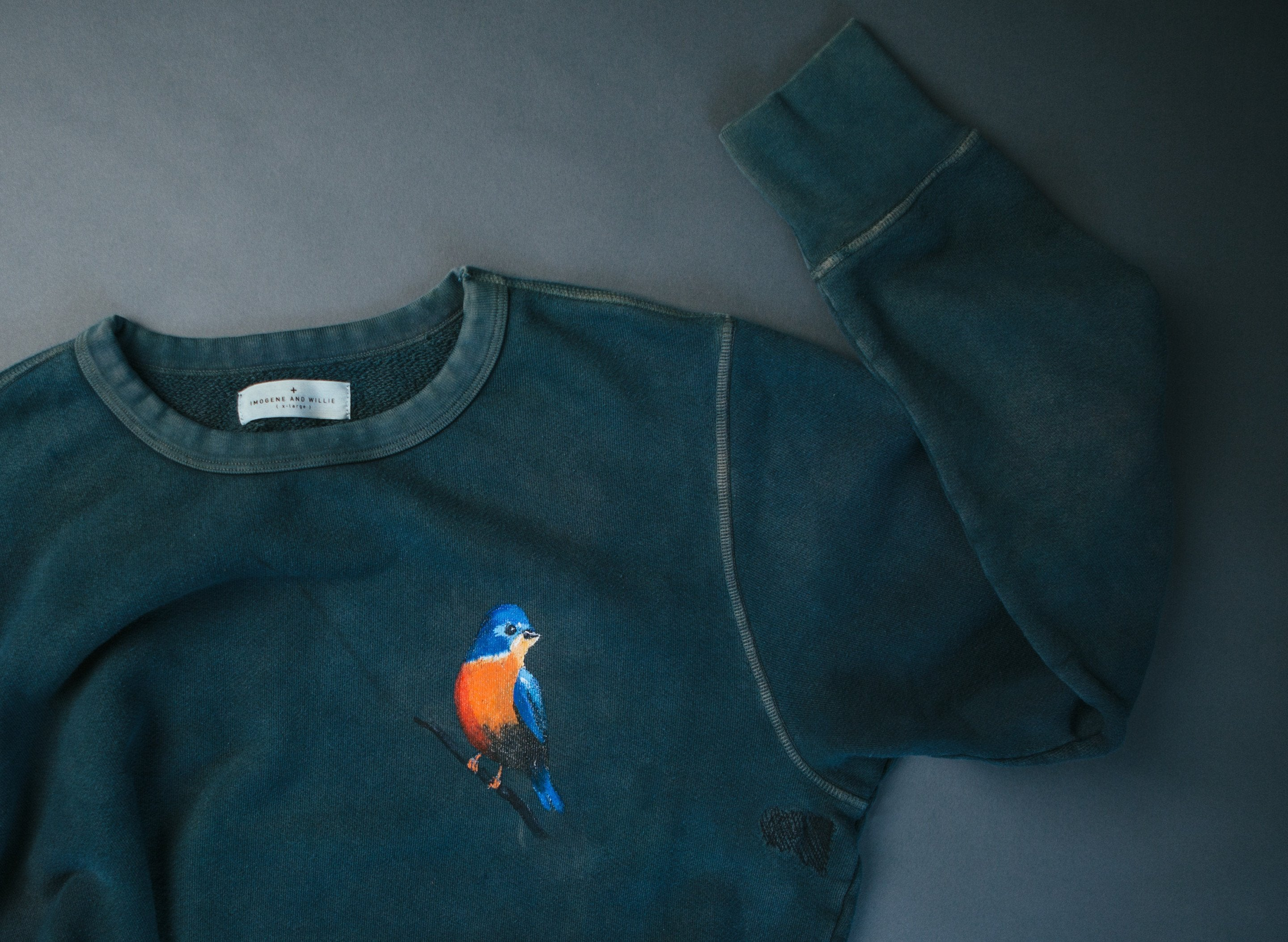 "imogene + willie - indigo dyed ""bird of mine"" sweatshirt"