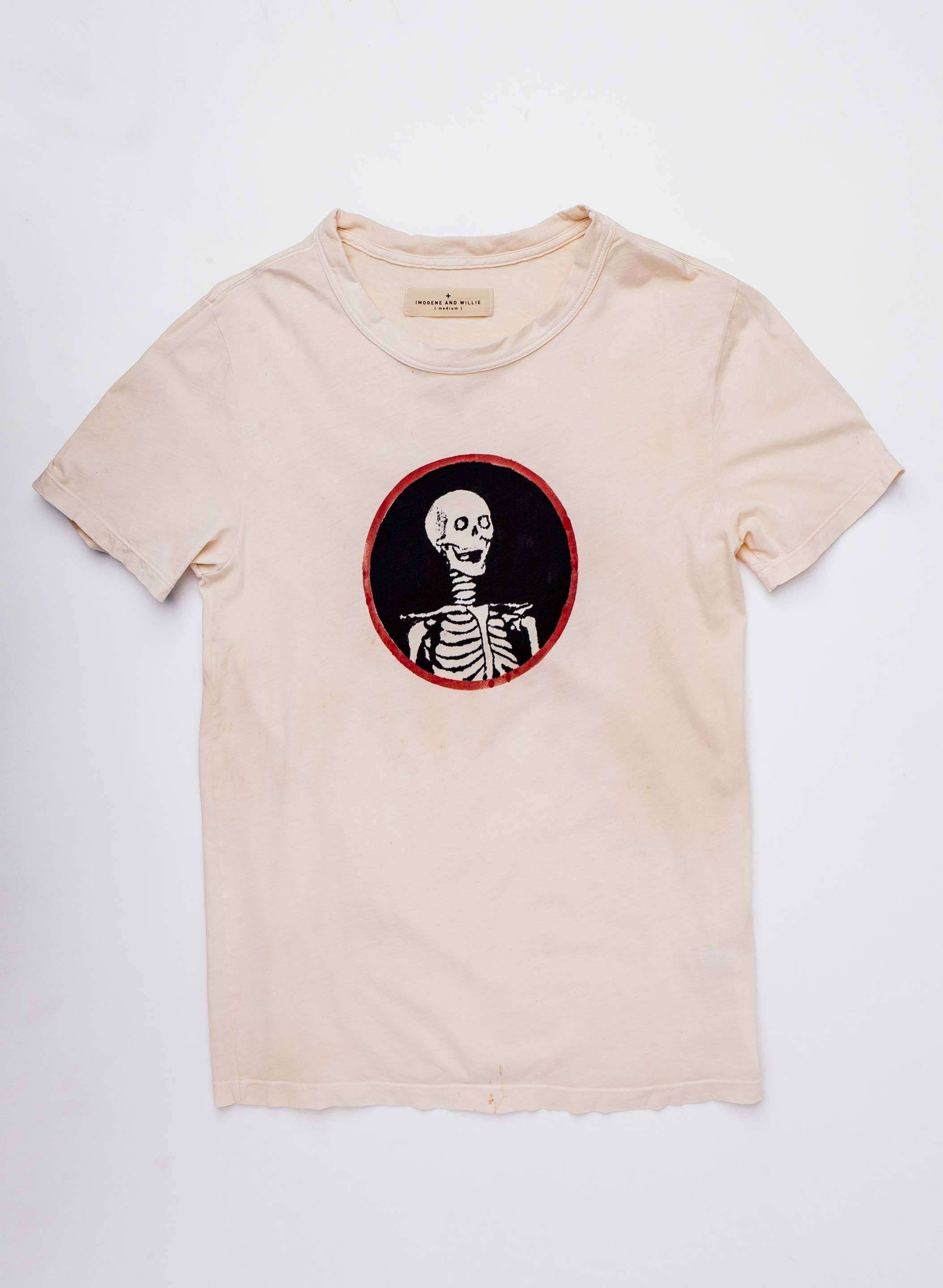 "imogene + willie - the handpainted ""black skull"" tee"