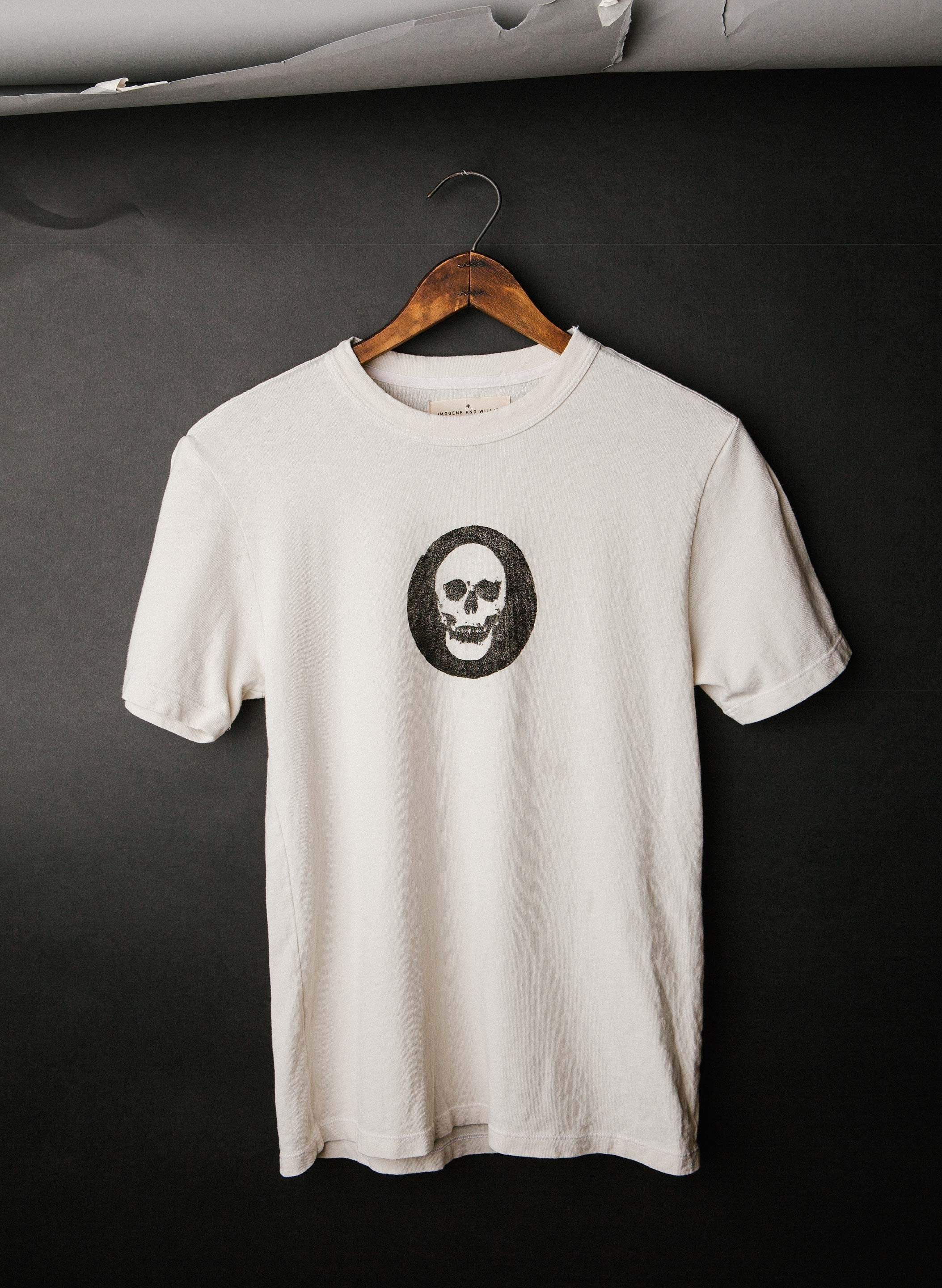 "handprinted ""tiny skull"" woodblock tee"