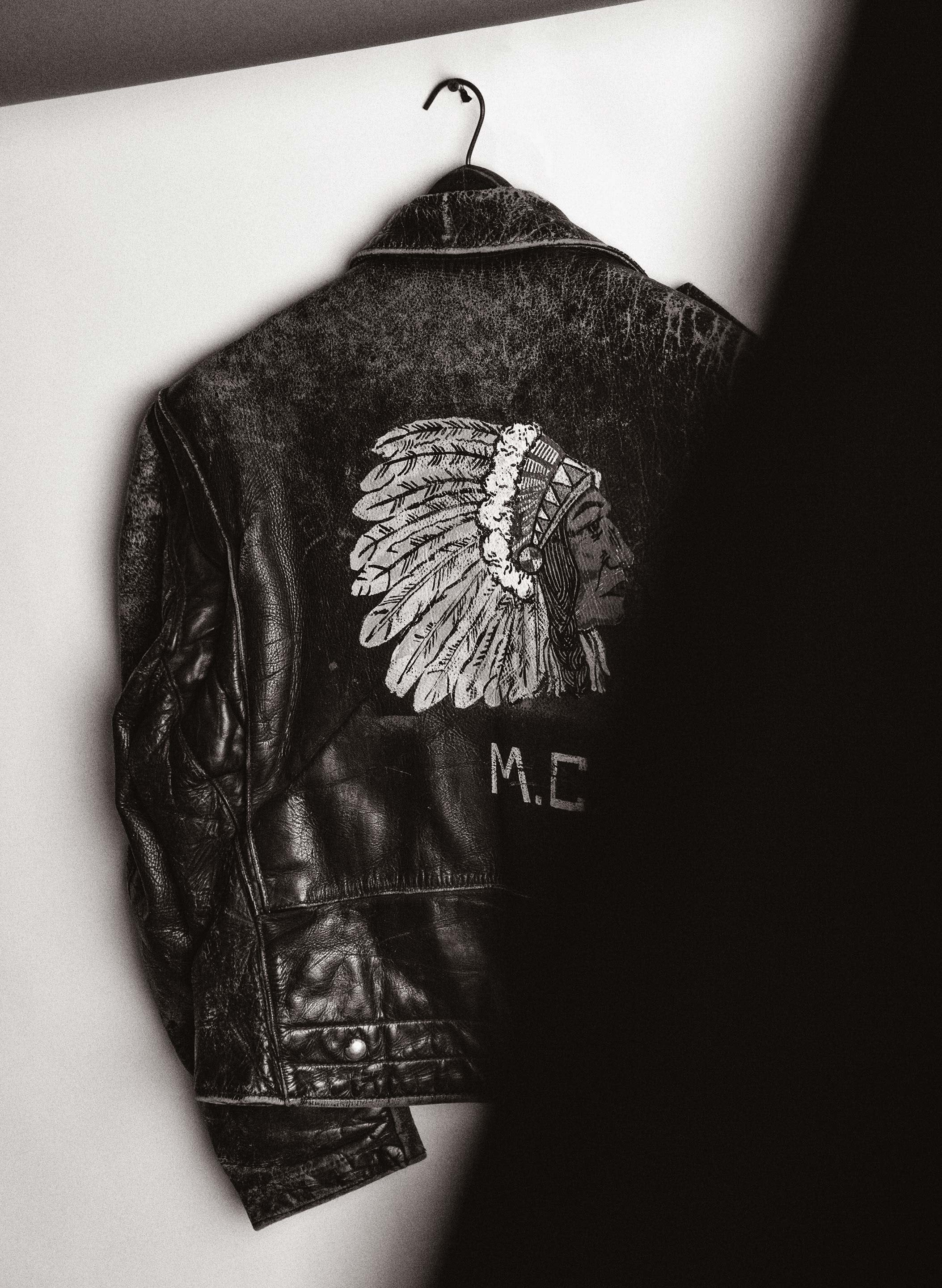 "imogene + willie - handpainted ""mc"" buco jacket"