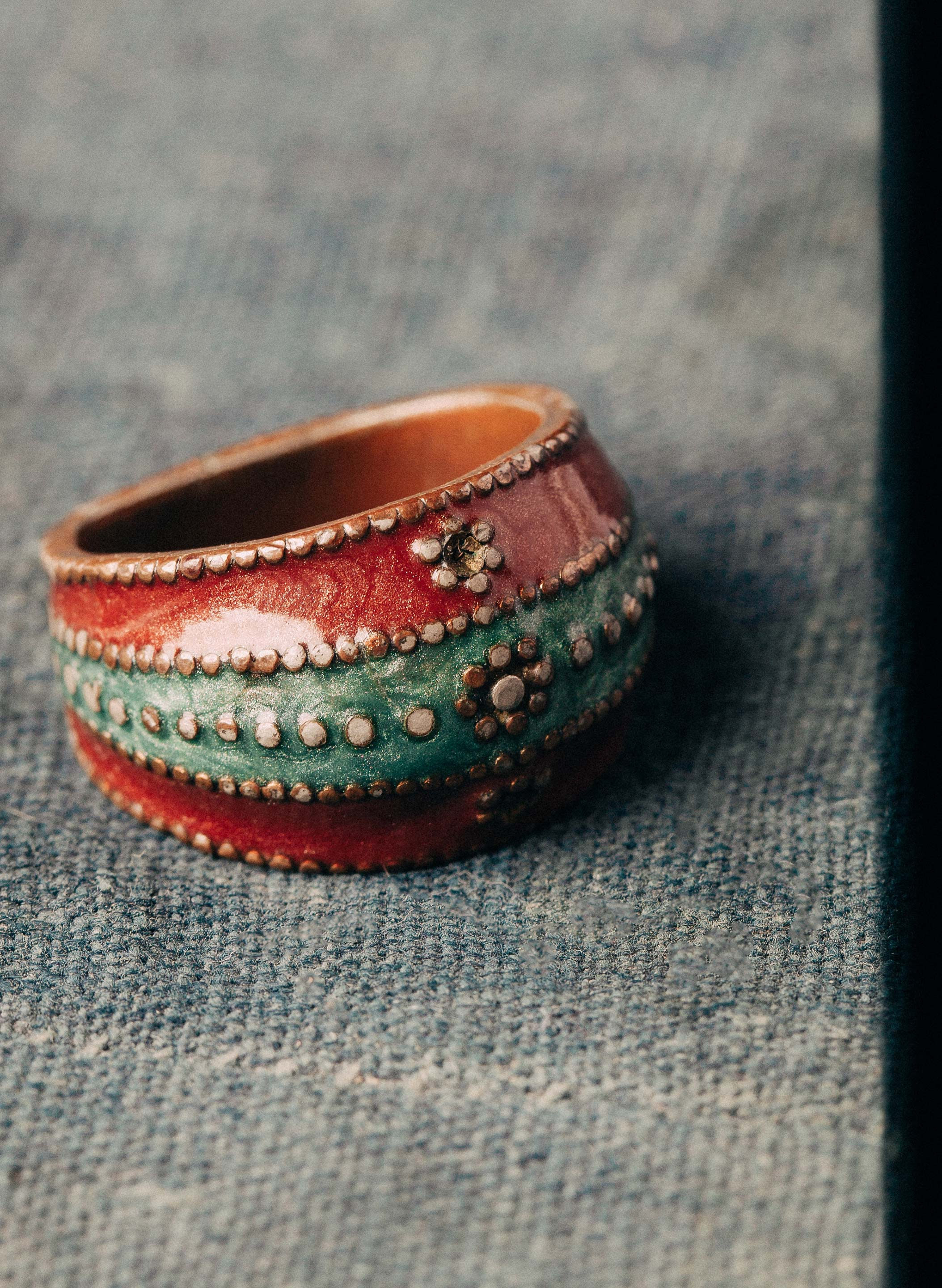 "imogene + willie - vintage ""oso"" enameled copper ring"