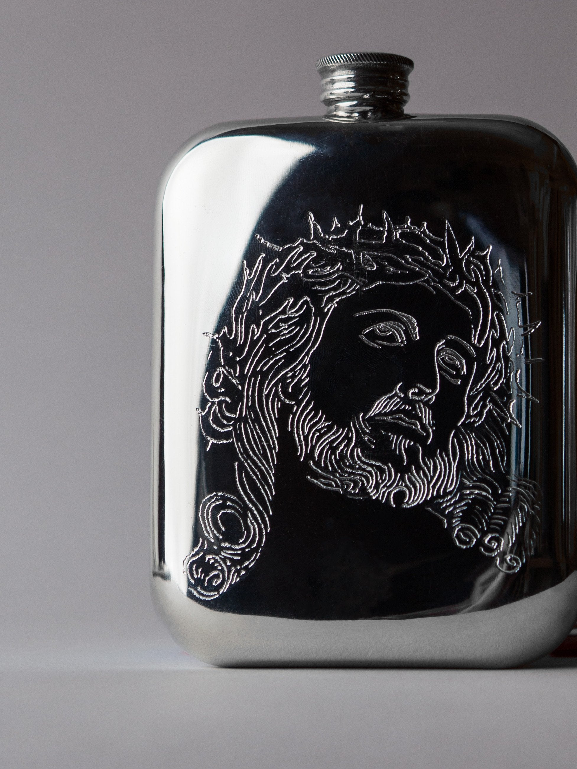 "imogene + willie - hand engraved ""sacred heart"" flask"