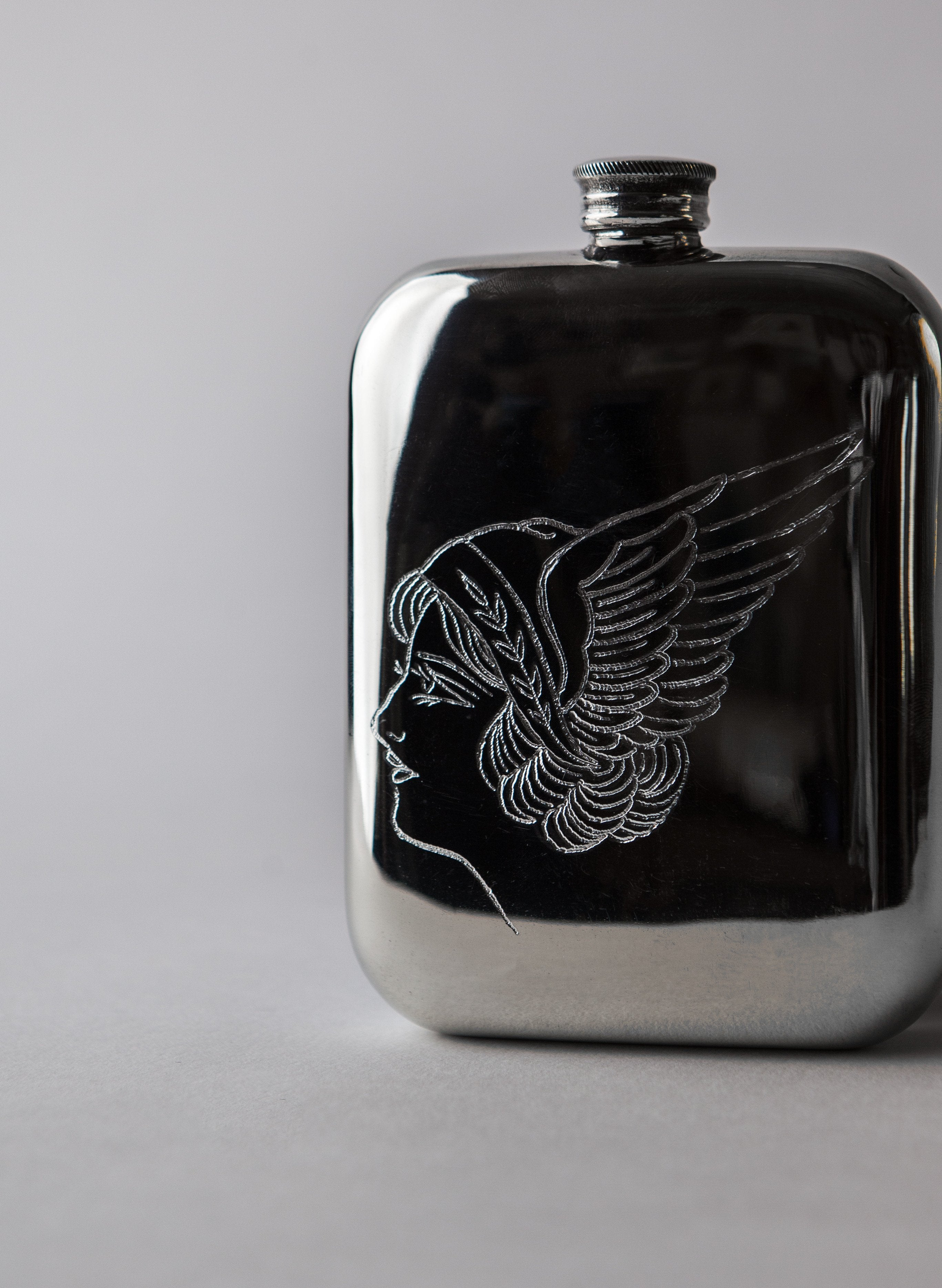 "imogene + willie - hand engraved ""festina lente"" flask"