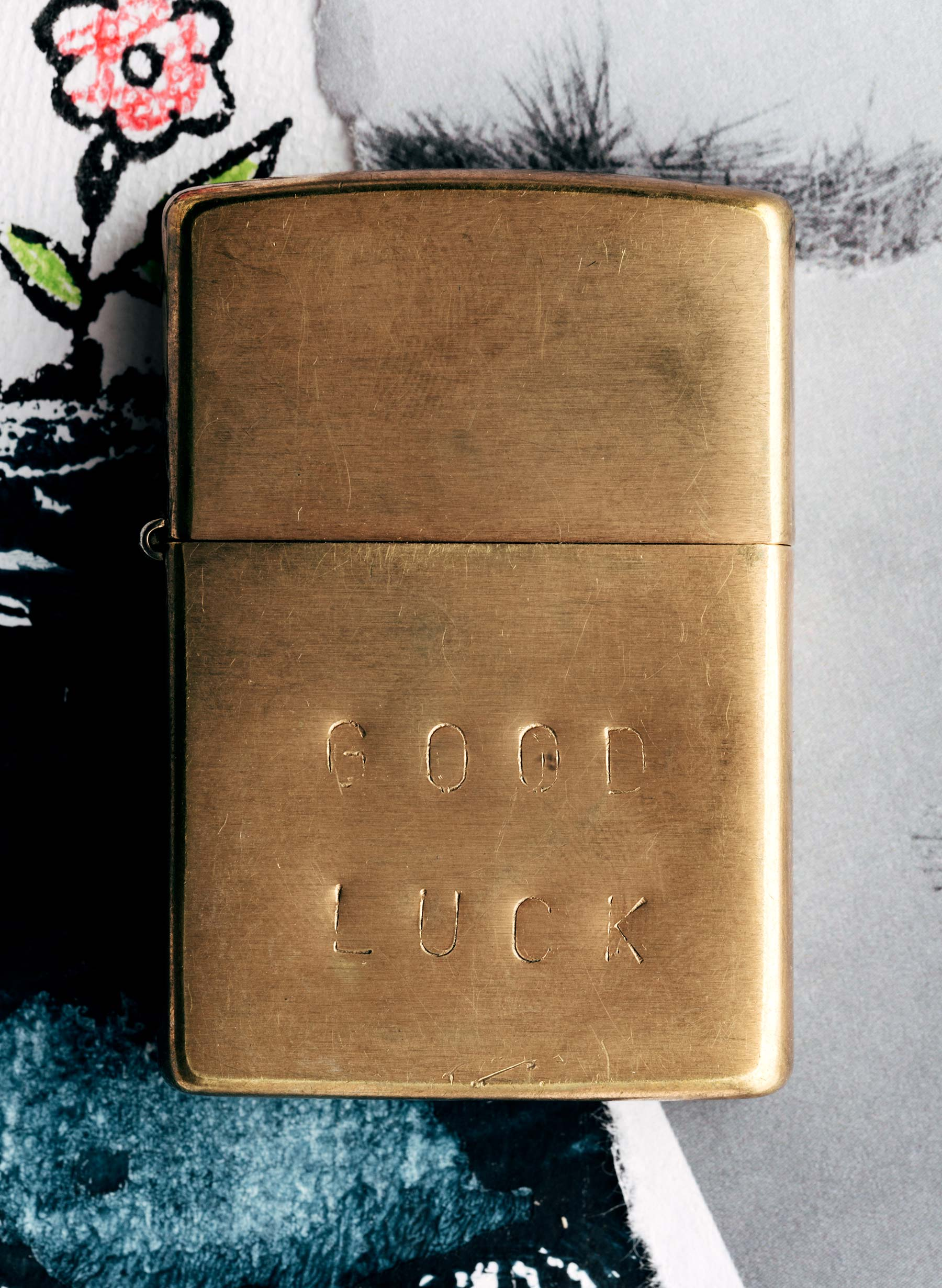 "imogene + willie - hand stamped ""good luck"" zippo"
