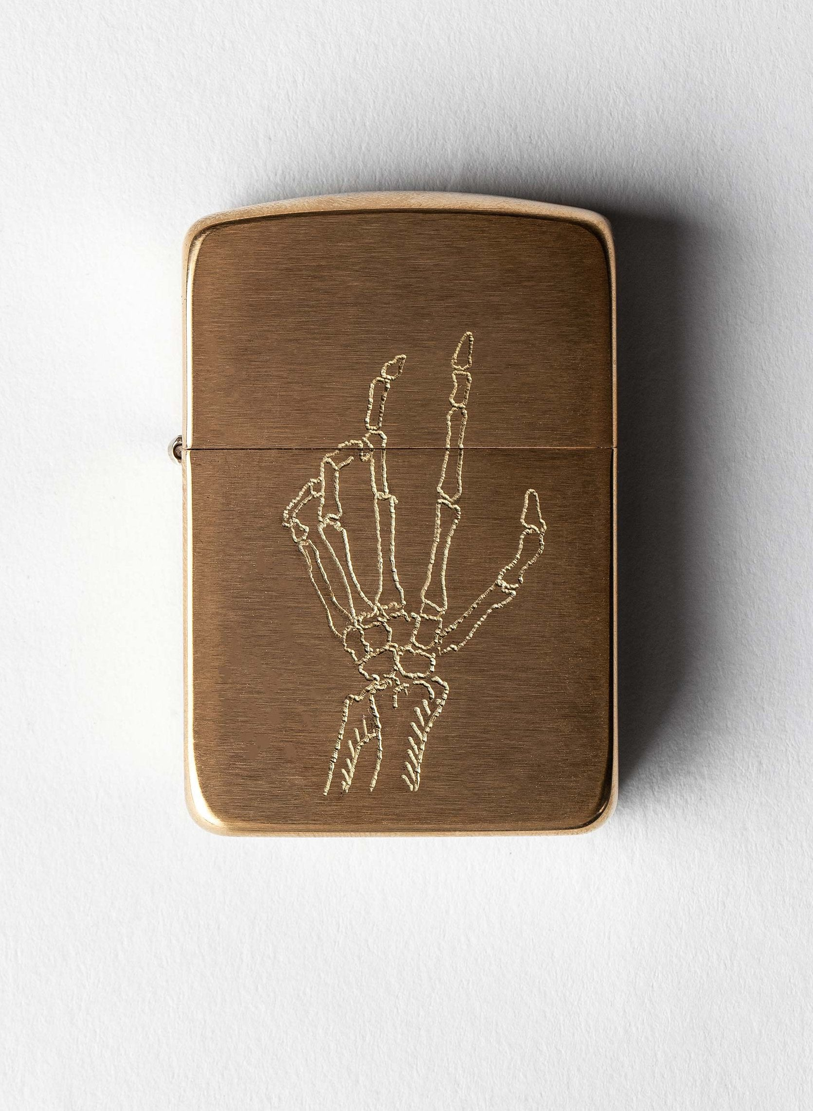 "imogene + willie - engraved ""death grip"" zippo"