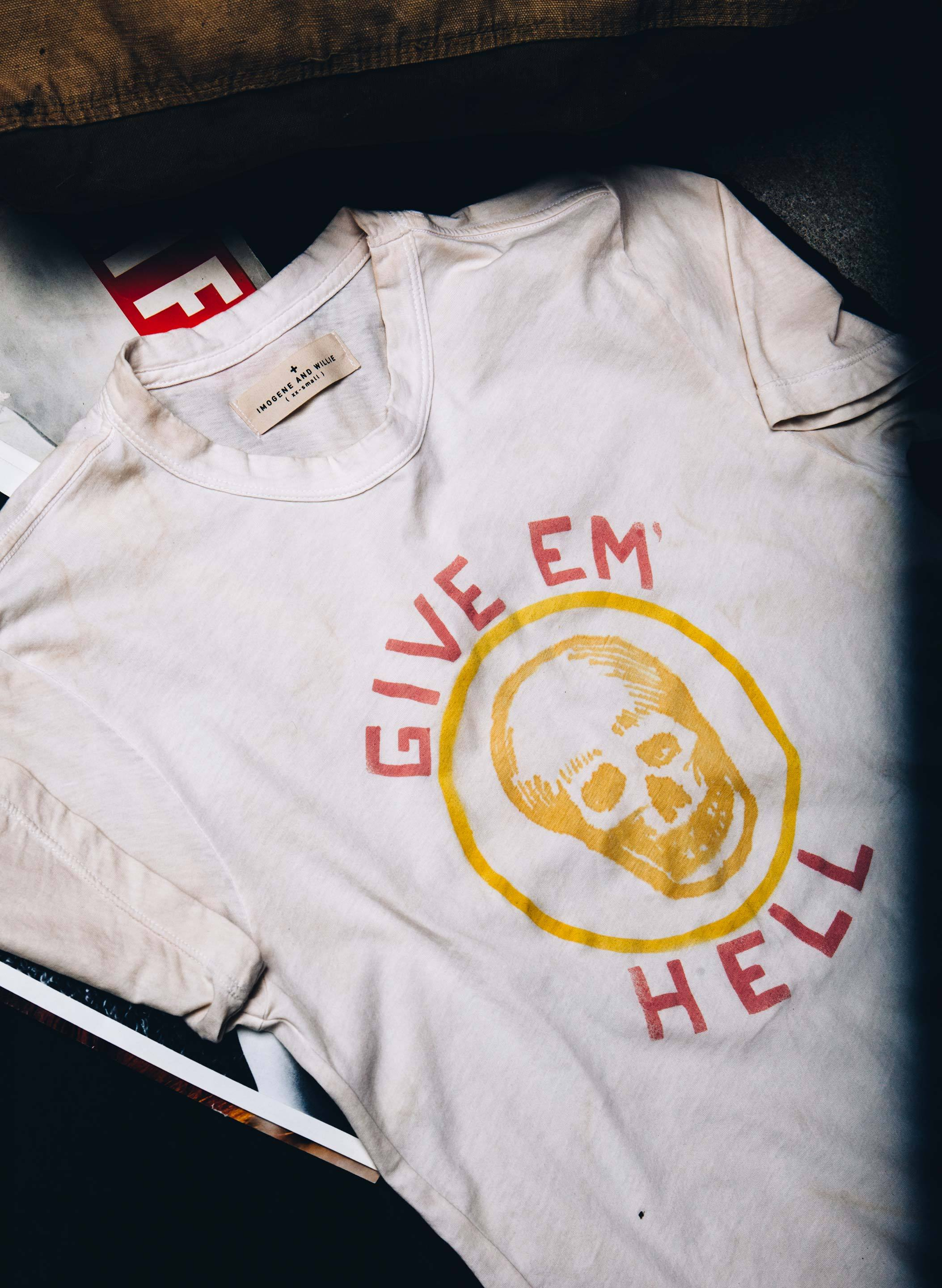 "imogene + willie - the handpainted ""give 'em hell"" tee"