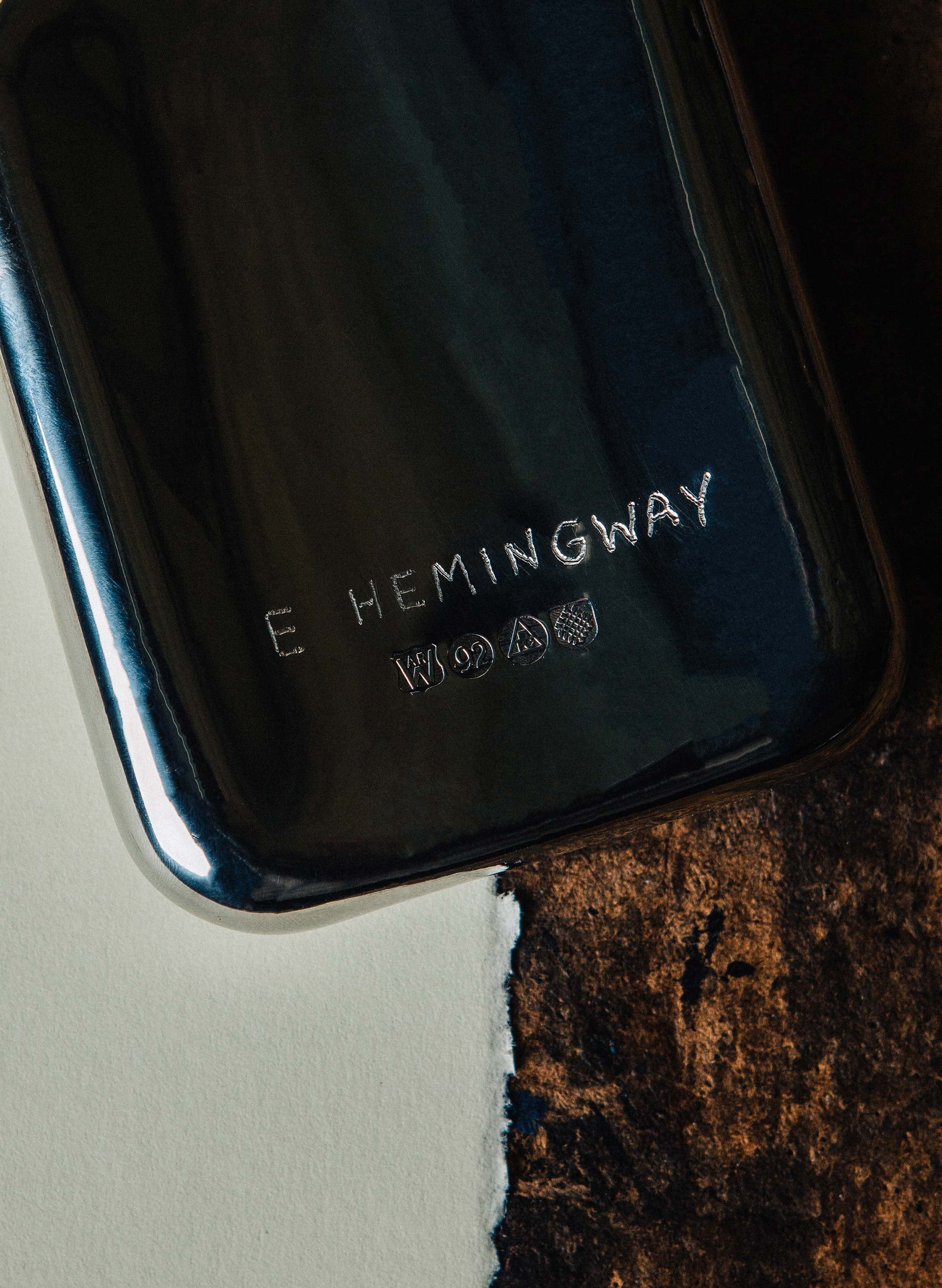 "imogene + willie - hand engraved ""hemingway"" flask"