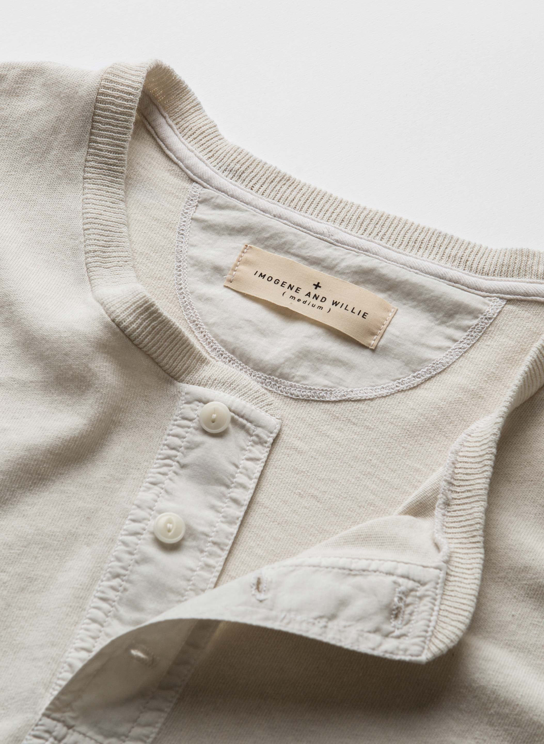 imogene + willie - the knit henley vintage white