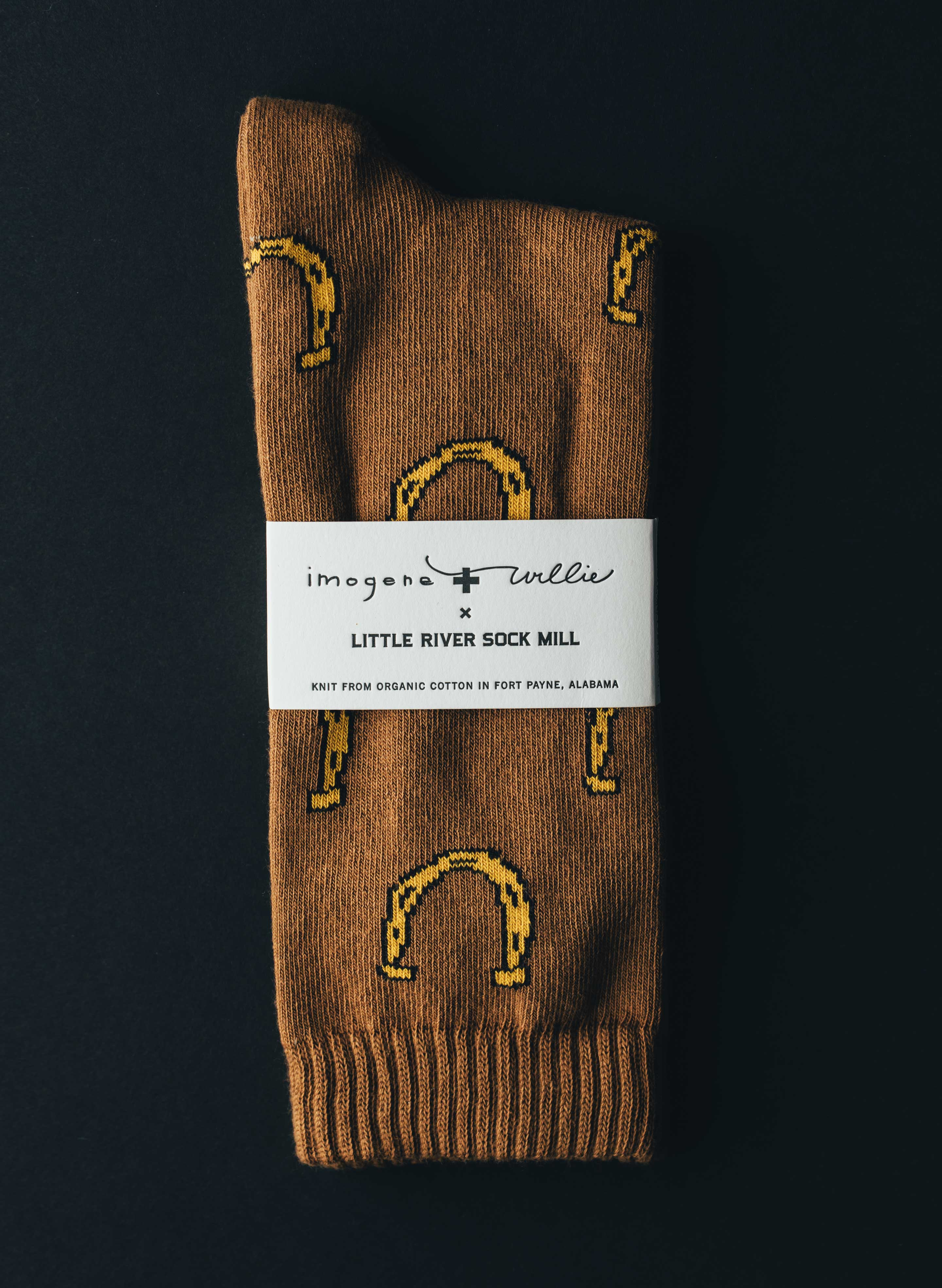 imogene + willie - horseshoe sock in brown